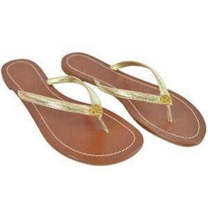 NIB Tory Burch Terra leather Thong Sandals Gold 8